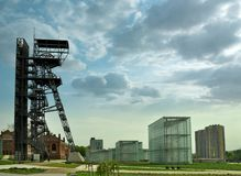 KATOWICE, POLAND -April 22, 2018: Centre of Katowice city. Modern buildings of Silesian Museum and old mine shaft stock images