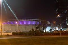 Katowice en el centro de la noche imagen de archivo