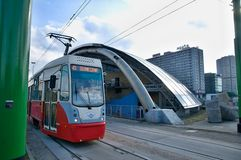 Katowice - Eye city - tram station Royalty Free Stock Images