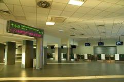 Katowice flygplats - kontrollera för inre som är tomt Arkivfoto