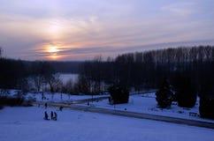 Katowice Forest Park nell'inverno Immagini Stock Libere da Diritti