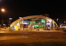 Katowice at night. Gallery Roundabout of Art (Rondo sztuki) in the center of Katowice in Silesian district of Poland Royalty Free Stock Photography