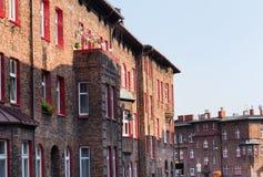 Katowice, Nikiszowiec, bâtiments traditionnels et vieux du secteur d'extraction de la Silésie Photographie stock