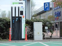 Electric car charger, Katowice stock image