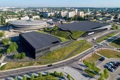 Katowice, Poland Ideia aérea do centro da cidade Fotografia de Stock Royalty Free