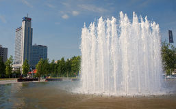 KATOWICE, POLAND - JULY 19, 2015: The fountain in front of the N Stock Images