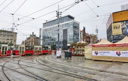 KATOWICE, POLAND - SEPTEMBER 16, 2017: The main square in the ci Stock Photo