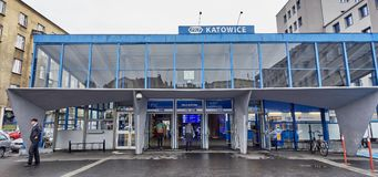 KATOWICE, POLAND - SEPTEMBER 16, 2017:Railway station in Katowic Stock Image