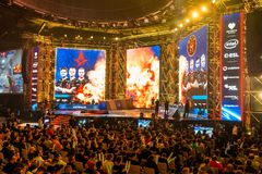 KATOWICE POLEN - MARS 3, 2019: Intel extrema förlage 2019 - elektronisk sportvärldscup på marsch 3, 2019 i Katowice, Silesia, royaltyfri fotografi