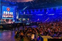 KATOWICE POLEN - MARS 3, 2019: Intel extrema förlage 2019 - elektronisk sportvärldscup på marsch 3, 2019 i Katowice, Silesia, royaltyfri foto