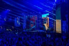 KATOWICE POLEN - MARS 3, 2019: Intel extrema förlage 2019 - elektronisk sportvärldscup på marsch 3, 2019 i Katowice, Silesia, arkivfoto