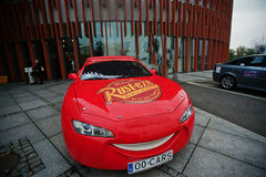 Katowice Polen - Oktober 24, 2014: Blixt McQueen ett större Royaltyfri Fotografi