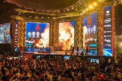 KATOWICE, POLOGNE - 3 MARS 2019 : Maîtres extrêmes 2019 d'Intel - coupe du monde électronique de sports le 3 mars 2019 dans Katow photographie stock libre de droits