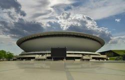 KATOWICE, POLONIA - 22 aprile 2018: Centro della città di Katowice Sala da concerto futuristica Città di Katowice capitale di Sle fotografie stock