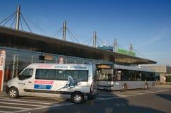 Katowiceluchthaven - aankomst Stock Foto