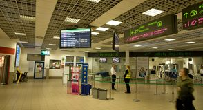 Katowiceluchthaven - binnenland Stock Fotografie
