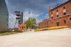 Katowicki w Polska, widoku stary mineshaft/blisko centrum miasta zdjęcia royalty free