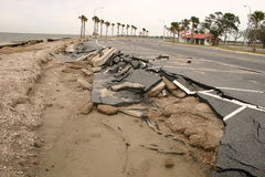 Katrina Aftermath. Road sliding into the water along coast of lake north of New Orleans Royalty Free Stock Photos