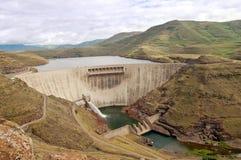 Katse dam wall Lesotho. The Katse dam wall in Lesotho, Fairly dry season Stock Photo
