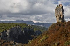 Katskhi Pillar with monk`s cell on its top, Georgia. royalty free stock images