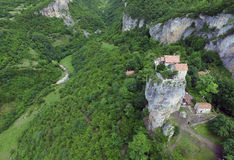 Katskhi pillar and the Orthodox Church on it, filmed in Georgia, from the air quadrocopters DJI Royalty Free Stock Photo