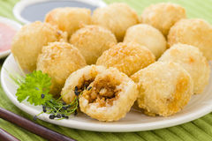 Katsu Chicken Balls. Japanese style breaded and deep fried rice balls filled with chicken curry Royalty Free Stock Images