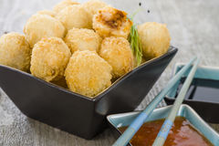 Katsu Chicken Balls. Japanese style breaded and deep fried rice balls filled with chicken curry Stock Image