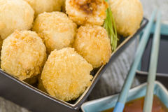 Katsu Chicken Balls. Japanese style breaded and deep fried rice balls filled with chicken curry Stock Images