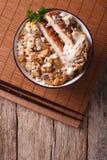 Katsudon fried pork tonkatsu with egg and rice. Vertical top vie Stock Photos