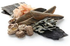 Japanischer umami Geschmack, Bestandteile von dashi (japanischer Suppenvorrat) stockfotos