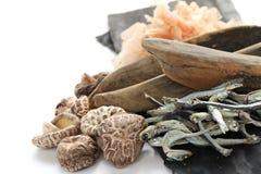 Japanischer umami Geschmack, Bestandteile von dashi (japanischer Suppenvorrat) stockbild