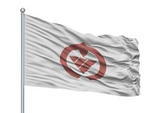 Katsura City Flag On Flagpole, Giappone, prefettura di Chiba, isolata su fondo bianco Illustrazione di Stock