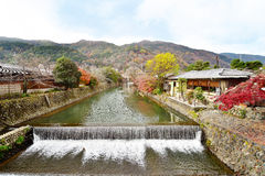 Katsura River in the Arashiyama area of Kyoto. Japan in autumn Royalty Free Stock Photo