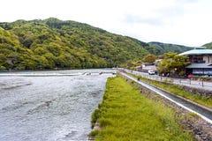 Katsura River in Arashiyama District, Kyoto, Japan.  Royalty Free Stock Image