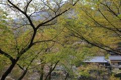 Katsura River delante de la montaña de Arashiyama en Kyoto Imagenes de archivo