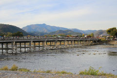 Katsura River in front of Arashiyama Mountain in Kyoto Stock Photography
