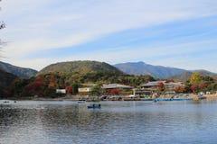 Katsura River in front of Arashiyama Mountain in Kyoto Stock Image