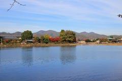 Katsura River in front of Arashiyama Mountain in Kyoto Royalty Free Stock Image
