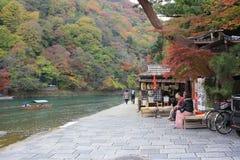 Katsura River in front of Arashiyama Mountain in Kyoto Royalty Free Stock Photo