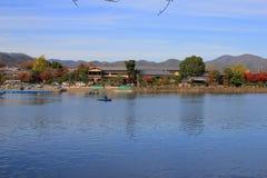 Katsura River in front of Arashiyama Mountain Royalty Free Stock Image