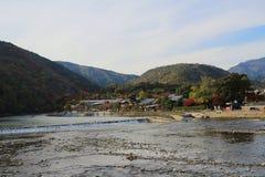 Katsura River in front of Arashiyama Mountain Stock Image