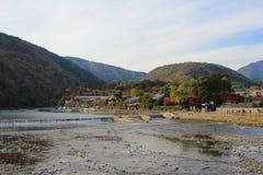 Katsura River in front of Arashiyama Mountain Royalty Free Stock Photos