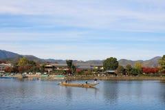 Katsura River in front of Arashiyama Mountain in Kyoto Stock Photos