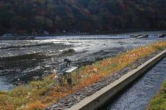 Katsura River in front of Arashiyama Mountain in Kyoto Royalty Free Stock Images