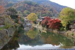 Katsura River in front of Arashiyama Mountain Kyoto Stock Photos