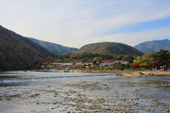 Katsura River in front of Arashiyama Mountain in Kyoto Royalty Free Stock Photos