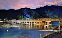 Katsura River Kyoto. Katsura River and Togetsukyo Bridge in Arashiyama, Kyoto, Japan Stock Image
