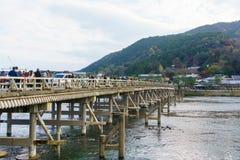 Katsura River and Togetsukyo Bridge in Arashiyama in kyoto. Kyoto, Japan - December 3, 2015: Katsura River and Togetsukyo Bridge in Arashiyama in kyoto Royalty Free Stock Photos