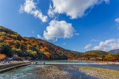 Katsuragawa River at Arashiyama in Kyoto Royalty Free Stock Images
