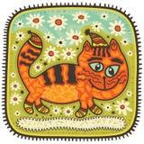 Katt bland blommor stock illustrationer